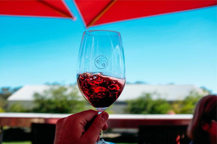 isiku, ettevõttest, Tühjendage, klaas, veini, punane, Wineglass