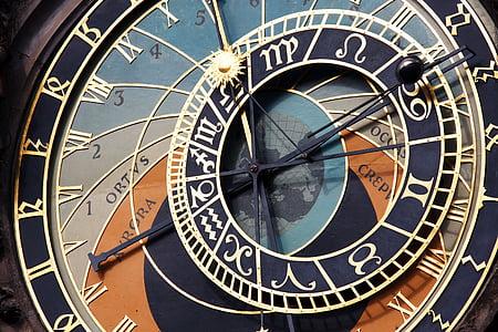gamle, antikk, arkitektur, astronomiske, astronomi, byen, klokke