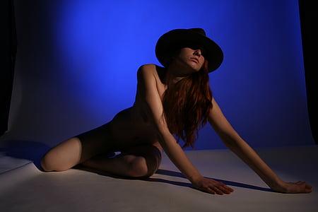 модель, люди, жінка, Оголена, darckness, капелюх, еротичні
