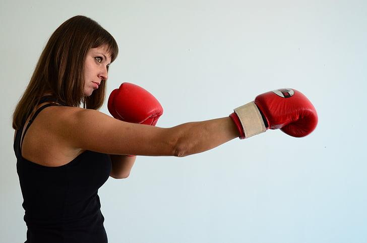 Дівчина, Рукавички, Спорт, Бокс, сильні, кільце