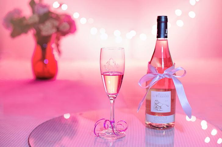 pink wine, champagne, celebration, pink, valentine's day, wedding, party