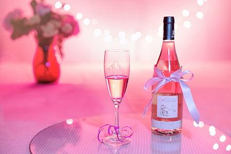 vi rosat, xampany, celebració, Rosa, dia de Sant Valentí, casament, Partit