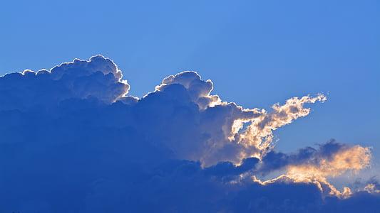 sky, clouds, dark clouds, blue, clouds form, covered sky, evening sky