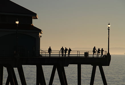 california, dock, pier, coast, pacific, usa, evening