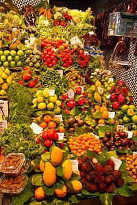 meyve, Pazar, renkli, egzotik meyveler, Barcelona