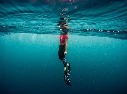 flippers, ocean, person, sea, swimming, underwater, water