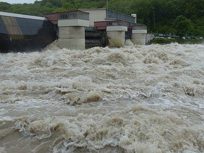 serrure, Weir, marée haute, barrage de, tir de barrage, centrale électrique, Danube