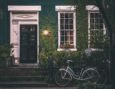 vintage, house, bicycle, home, architecture, exterior, old house