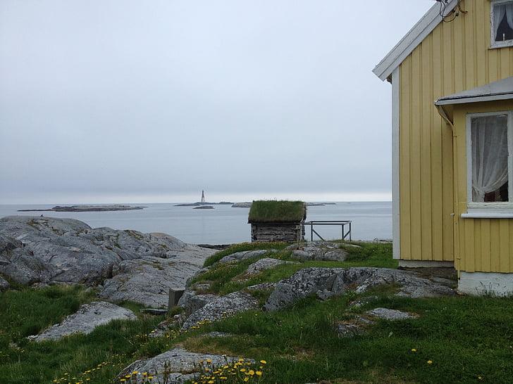 Grip, Noruega, Isla, mar, luz, linterna Faro, Playa