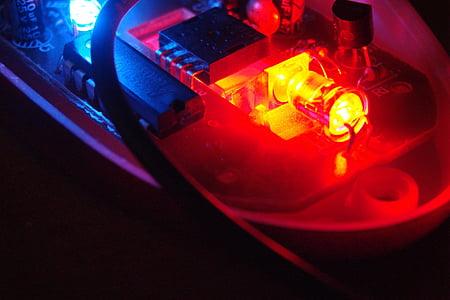 elektronikk, blå, rød, lys, ledet, teknologi, datamaskiner