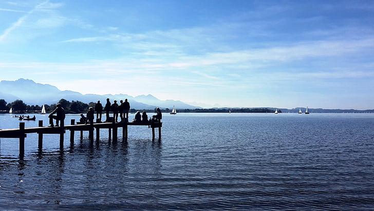 lake, web, water, jetty, autumn, dock, silent