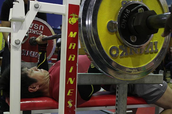 vīrietis, Bench press, svars, svars, treniņa, uzdevums, trenažieris