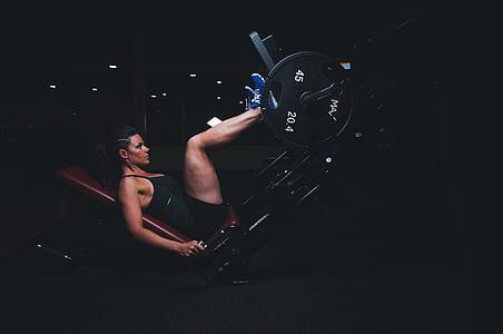 Възрастен, спортист, тъмно, енергия, упражнение, упражняване оборудване, женски