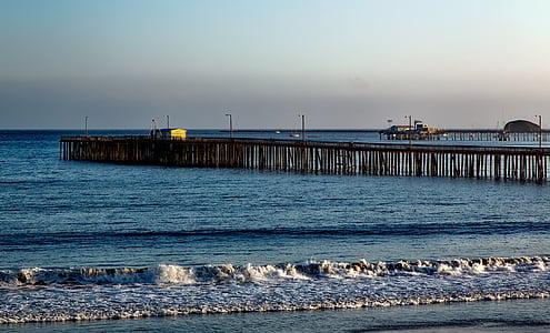 santa cruz, Moll, estructura, Califòrnia, l'aigua, Costa, del Pacífic