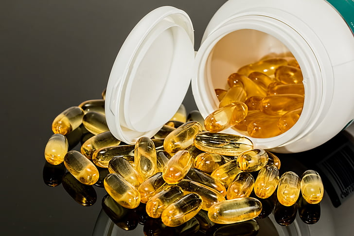 bruin, medicatie, Capsule, gels, binnenkant, buiten, container
