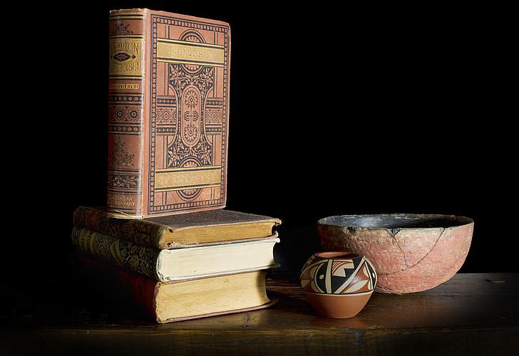 knihy, misky, Zátiší
