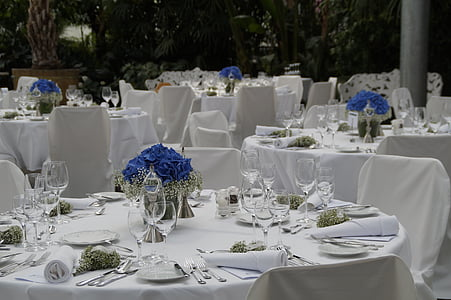 mariage, Festival, célébration, festive, tables à manger, manger, emplacement