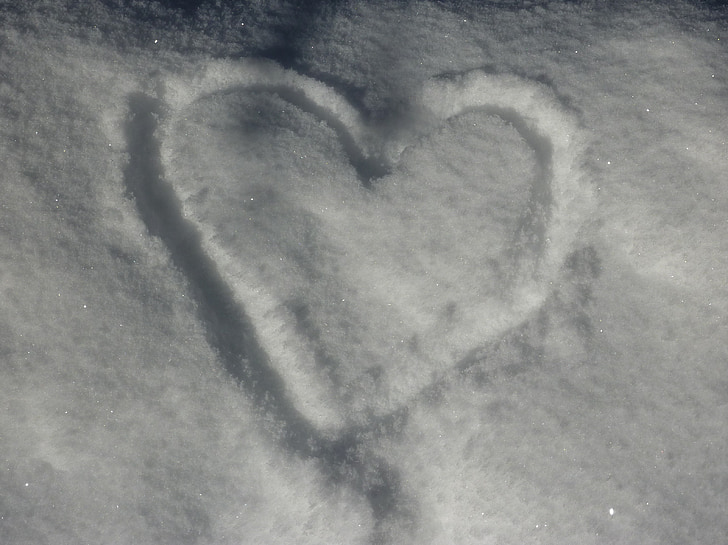 snow, heart, snow heart, winter, love