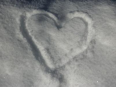 snow, heart, snow heart, winter, love