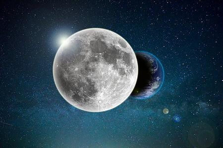 telpa, mēness, planētas, Galaxy, zvaigzne, debesis, Visums