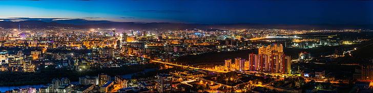 vista di notte, Ulan Bator orientale, Mongolia, la città della luce, Afterlight, Panorama, illuminato