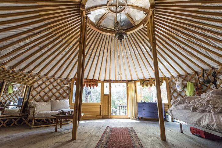 Yurt, liburan, perjalanan, berkemah, alternatif, hidup, tenda bulat