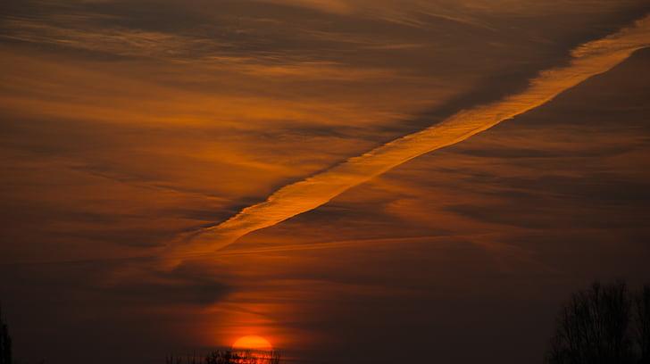 céu, pôr do sol, céu da noite, abendstimmung, nuvens