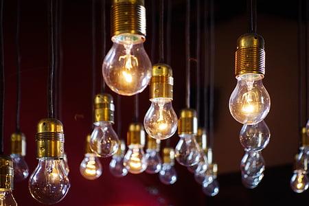 glödlampor, hängande, belysning, elektricitet, energi, glödlampa, belysning