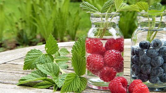 vody, ovocie, maliny, čučoriedky, Malinový listy, Frisch, zdravé