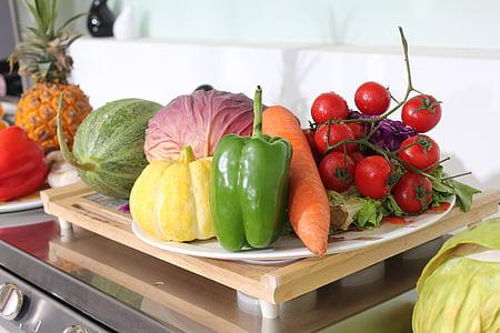vegetabilsk, frugt, friske grøntsager, hjem, varm, frugter hjælp, materiale