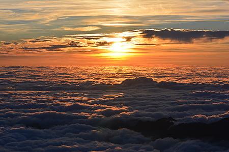 tramonto, mare di nubi, nuvole, crepuscolo, natura, bellezza naturale, nube - cielo