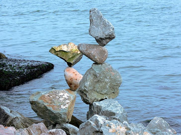 đá, cân bằng, cân bằng, bấp bênh, đá, cọc, ma thuật
