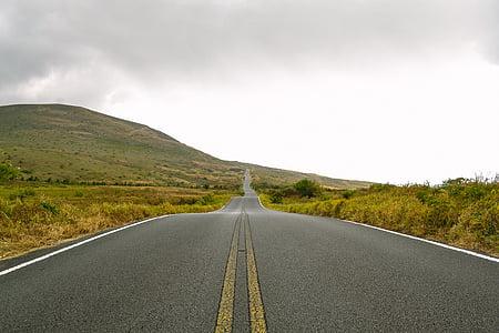 asfaltu, wzgórze, drogi, niebo, podróży, Natura, autostrady